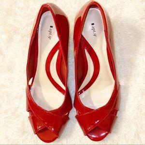 Apt 9 Red Patent Leather Peep-toe Heels